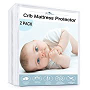 Downluxe Waterproof Crib Mattress Protector - Natural Hypoallergenic, Deep Fitted Stretch Skirt 52 x28  (2 PACK,White)
