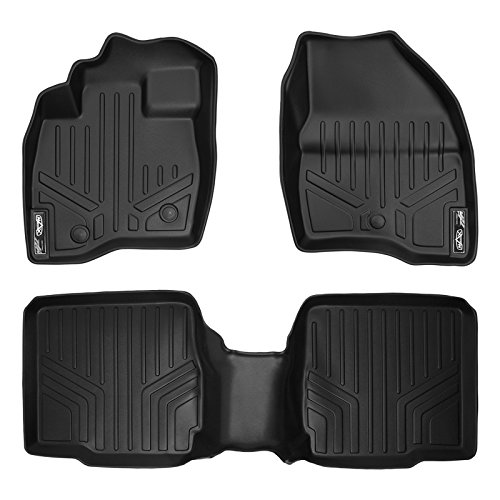 SMARTLINER Floor Mats 2 Row Liner Set Black for 2017-2018 Ford Explorer with 2nd Row Center Console