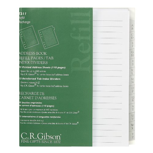 amazon com c r gibson address book refill pages with tab index
