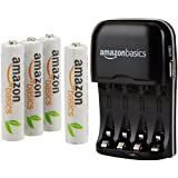 AmazonBasics AAA Rechargeable Batteries (4-Pack) and Ni-MH AA & AAA Battery Charger With USB Port Set