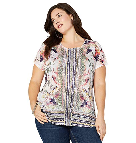 Avenue Women's Abstract Print Border Tee, 26/28 Multi Color ()