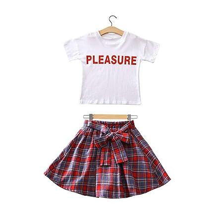 6-15 años de edad, niñas de verano, falda a cuadros, falda plisada ...