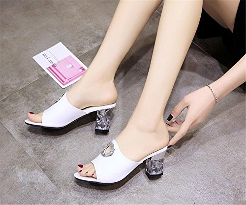 Mules Sandals Toe Heel White Shoes Slippers Slide Chunky Women Open Block Casual Heeled xF0gqpFw8n