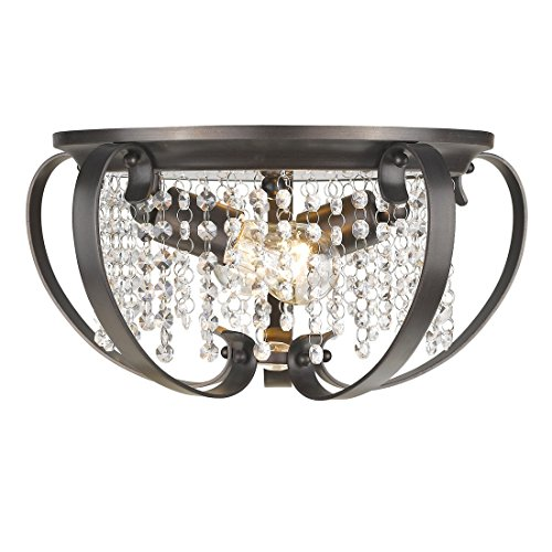Etruscan Bronze 2 Light (Golden Lighting 1323-FM EBB Ella - Two Light Flush Mount, Brushed Etruscan Bronze Finish with Multi-Faceted Clear Crystal)