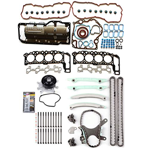 OCPTY Timing Chain Kit Head Gasket Bolts Set with Water Pump for Dodge Ram 1500 4.7L 04 05 06 07 Jeep Commander 4.7L 6