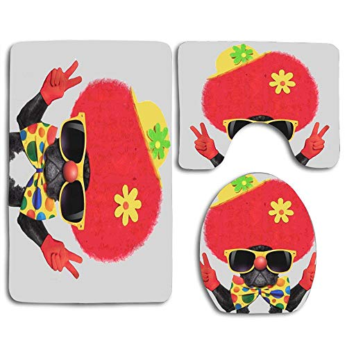 (EnmindonglJHO Colorful Silly Dog Wearing Clown Costume Peace Victory Fingers Bathroom Rug Mats Set 3 Piece Shower Bath Rugs Contour Mat Lid Cover)