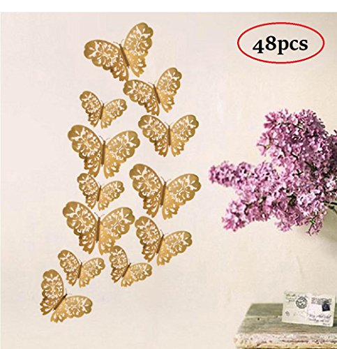 48 Pcs Creative Desgin 3D Metal Texture Butterfly Wall Decals Removable 3D Nursery Hollow Butterflies Wall Decoration DIY Wall Stickers Home Murals Bathroom Stickers Bedroom Art Decor (A, Gold)