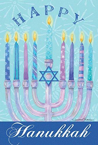 Toland Home Garden Happy Hanukkah 12.5 x 18 Inch Decorative Winter Holiday Menorah Garden Flag -