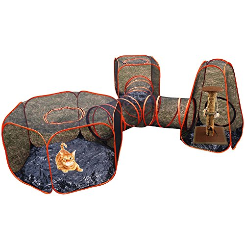 4 in 1 Compound Pet Playens - 3 Tents & 1 Triangle Tunnel - Portable Pop Up Folding Enclosure Play Houses - For Cat - Kitty - Dog - Puppy - Rabbit