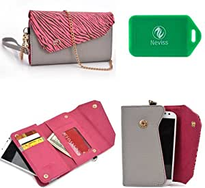 Wallet smart phone holder BONUS cross body chain strap included- Hot Pink/ Grey- Universal fit for Samsung Star Deluxe Duos S5292