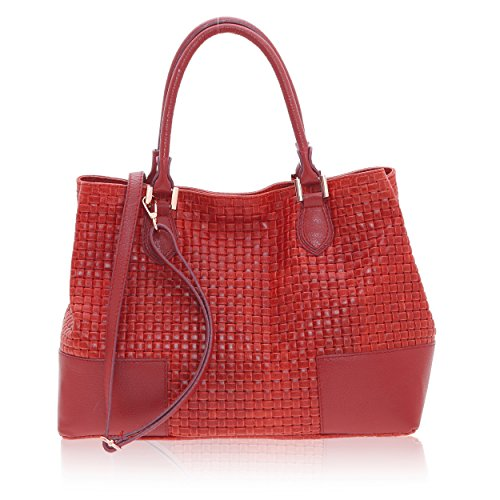 14 x Mano 27 x a 37 Stampa Rosso Made Borse Italy da Vera Intreccio Pelle in Borsa in Chicca Cm Realizzata Handbag Donna wIRqgnT