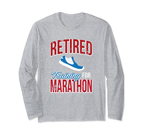 Runner Training Marathon (Unisex Retired Training For Marathon Runners Gift Long Sleeve XL: Heather Grey)