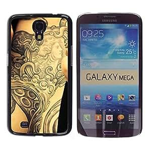 Qstar Arte & diseño plástico duro Fundas Cover Cubre Hard Case Cover para Samsung Galaxy Mega 6.3 / I9200 / SGH-i527 ( Tattoo Ink Body Art Goddess Ancient Arm)