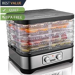 Food Dehydrator Machine Jerky with 5 Trays, Knob Button/250Watt