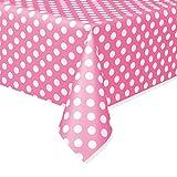Unique Party 50265 - Plastic Hot Pink Polka Dot Tablecloth, 9ft x 4.5ft