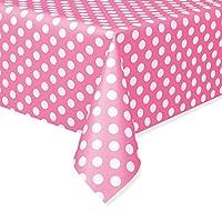 Plastic Hot Pink Polka Dot Tablecloth, 9ft x 4.5ft