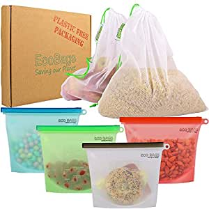 Reusable Silicone Food Bag by Ecobags (Set of 4, 1L Silicone Bags) with Bonus 2 Reusable Produce Bags