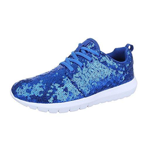 Ital-Design Low-Top Sneaker Damenschuhe Low-Top Sneakers Schnürsenkel Freizeitschuhe Blau 50-H61007D