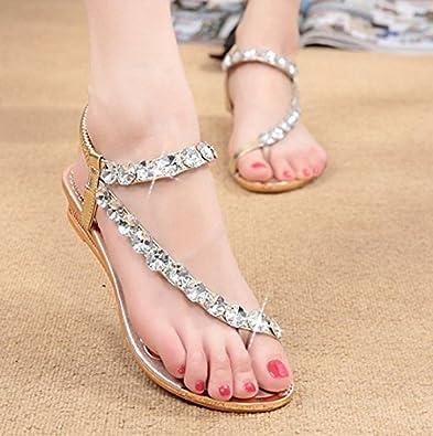 b43805dbc458d WINZIK Flat Sandals Women Girls Summer Fashion Bohemia Bling Rhinestone  Beaded Clip Toe Flip Flops Beach Shoes (6 B(M) US