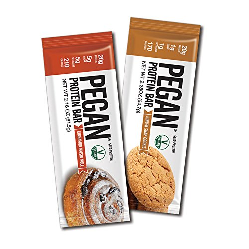 Pegan® Protein Bar (Variety Pack) 12 Bars (20g Organic Protein 2 Flavors) (Vegan/Paleo)