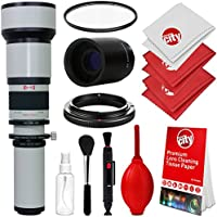 Opteka 650-1300mm (with 2x- 1300-2600mm) f/8 Manual Telephoto Lens + UV for Sony Alpha A99 II, A99, A77, A68, A65, A58, A57, A55, A37, A35, A33, A900, A700, A580, A560, A550, A390 Digital SLR Cameras