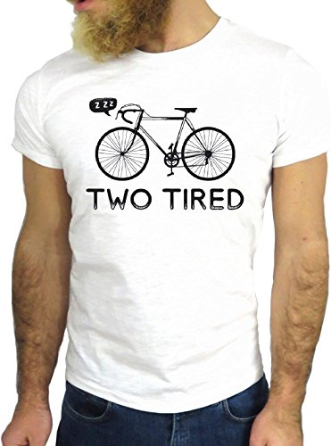 T-SHIRT JODE GGG24 Z1011 BICYCLE TWO TIRED AMERICA UK BLACK AND WHITE COOL BIANCA - WHITE XL