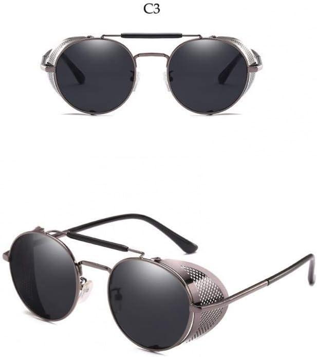 Taiyangcheng Gafas de Sol Redondas Negras de Steampunk Gafas de Sol con Marco de Metal y protección Lateral para Hombres Gafas