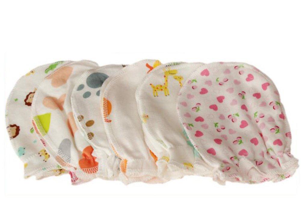 Morbido cotone 5paia cute Cartoon 0–6mesi neonato bambino neonato anti cattura scratch guanti casuale Wilotick