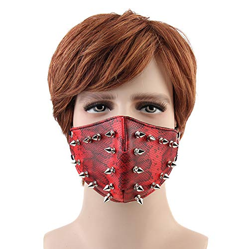 Leather Mouth Mask Cosplay River Half Face Sports Protective Punk Mask(Rivets red) -
