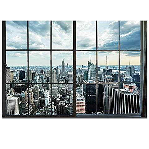 Live Art Decor- Large Manhattan New York City Skyline Canvas Prints Cityscape from Window Picture Photography Canvas Art with Inner Wood Frame Modern Home ()