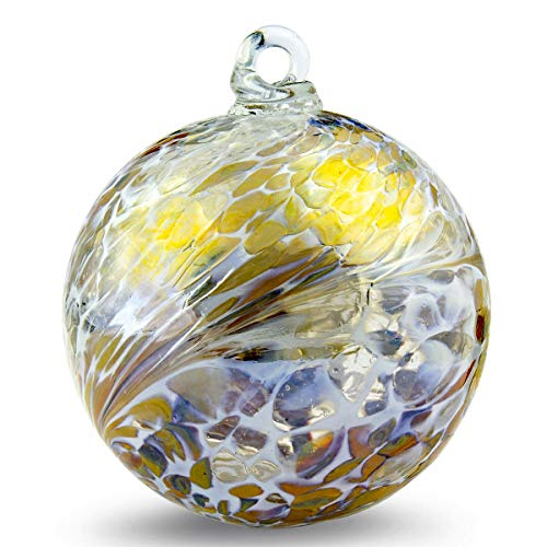 Friendship Ball Caramel Colors Plus White 4 Inch Kugel Iridized Witch Ball by Iron Art Glass Designs