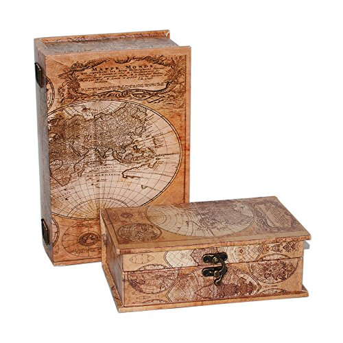MODE HOME World Map Vintage Decorative Box Wooden Treasure Box Set of 2 (WORLD MAP) by MODE HOME