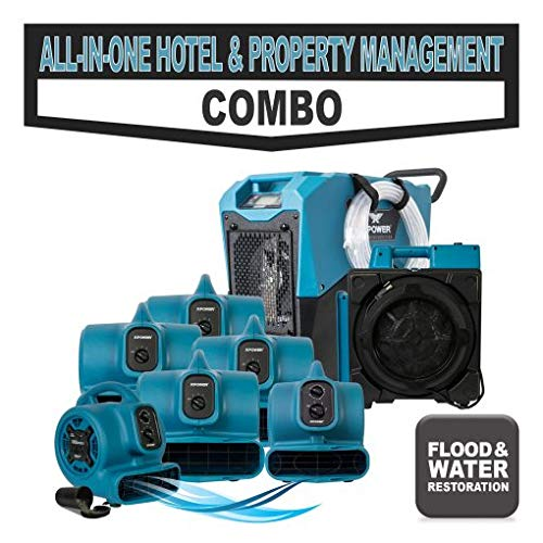 Mini Mover - XPOWER Hotel and Property Management Water Damage, Mold Prevention Tool w/ 1 XD-85LH LGR Dehumifier, 4 X-400A Centrifugal Fans, X-2580 Air Scrubber, P-230at Mini Air Mover & P-260AT Scented Air Mover