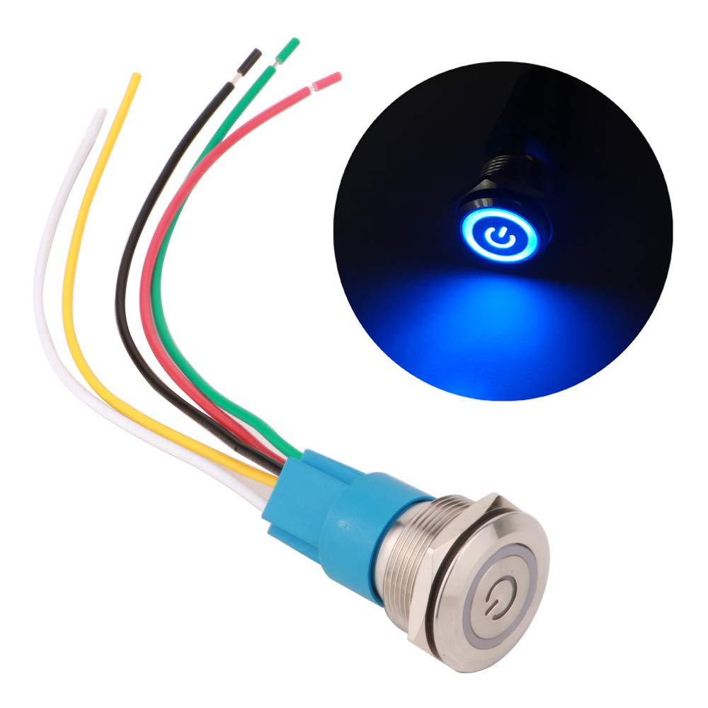 Blue LED ARTGEAR 0.87//22mm Stainless Steel Latching Push button Switch 12V-24V Power Symbol LED 1NO1NC SPDT ON Off Waterproof Toggle Switch with Wire Socket Plug