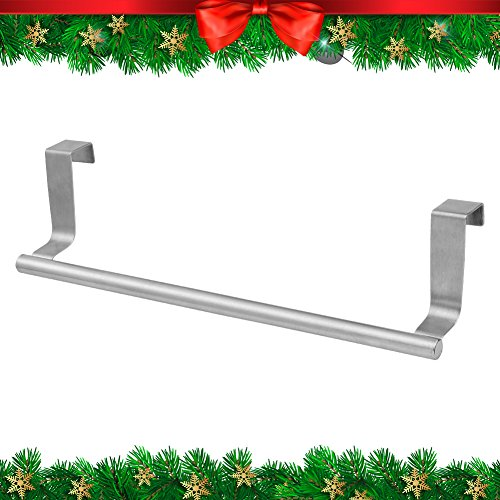 """CHRISTMAS GIFT Kitchen Towel Bar   Heavy Duty Stainless Steel 14"""" Over the Cabinet Dish Towel Holder with 22 Lbs Maximum Load   Non-Absorbent Foam for Effortless Installation on Any Bathroom and Kitchen   Silver"""