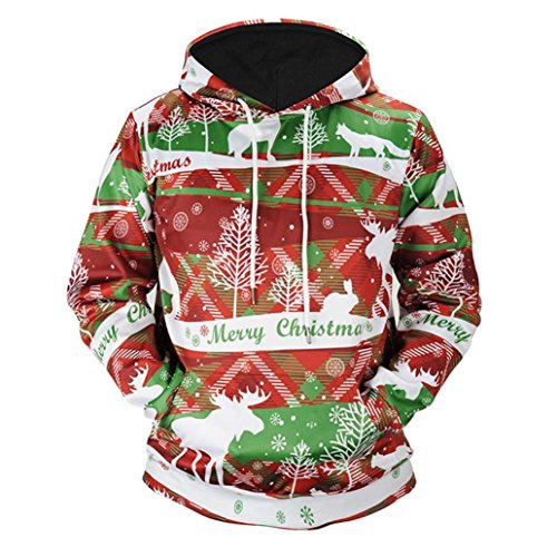 Muranba Men Women Winter Christmas Printed Long Sleeve Hooded Sweatshirt Tops (Red, - Oakley Chart Lenses