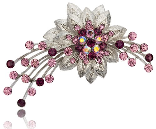 Floral Spray Design with Amethyst Color Rhinestone Brooch Pin