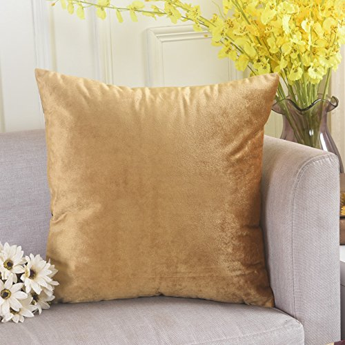 HOME BRILLIANT Velvet Square Large Throw Pillow Cover Euro Sham Decorative Shell for Bed Sofa Couch Office Car, 26 x 26 inches(66cm), Gold