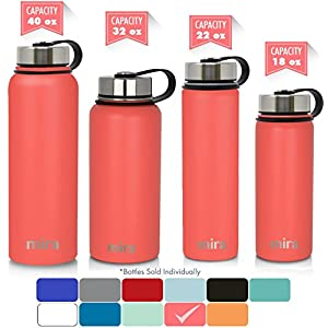 MIRA 22 Oz Stainless Steel Vacuum Insulated Wide Mouth Water Bottle with 2 Caps | Thermos Keeps Cold for 24 hours, Hot for 12 hours | Double Walled Powder Coated Travel Flask | Coral