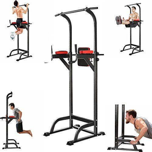 Adjustable Fitness Power Tower, Multi-Function Strength Training Workout Station for Push-Up, Pull-Up, Dip, Vertical Knee Raise (VKR) Station in Home Gym Office [US STOCK] by Leoneva