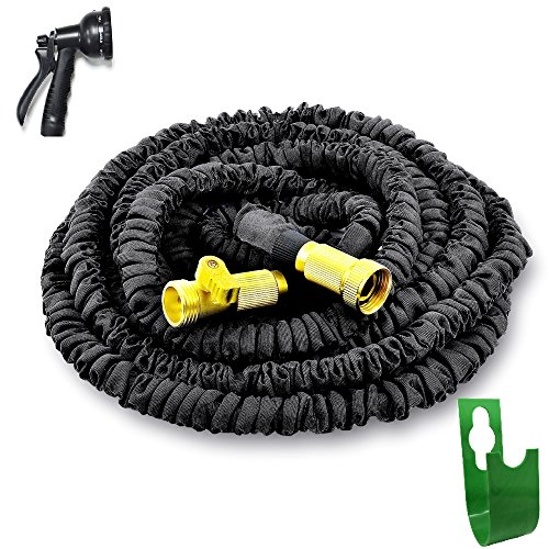 Garden Hose 75 ft Best Expandable Water Hose USA Grade Brass Connectors New STRONGEST On The Planet Collapsible Retractable Light,Pocket Easy Storage without Reel-Gardening Gifts-Buy with Confidence