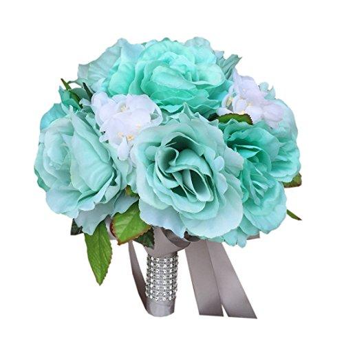 10bouquet-aqua-Green-with-White-Hydrangeagray-Ribbon