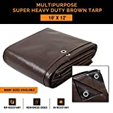 10' x 12' Super Heavy Duty 16 Mil Brown Poly Tarp Cover - Thick Waterproof, UV Resistant, Rot, Rip and Tear Proof Tarpaulin with Grommets and Reinforced Edges - by Xpose Safety