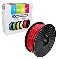 TIANSE Red PLA 3D Printer Filament, 1 kg Spool, 1.75 mm, Dimensional Accuracy +/- 0.03 mm from TIANSE