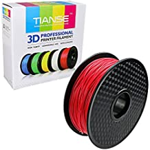 TIANSE Red PLA 3D Printer Filament, 1 kg Spool, 1.75 mm, Dimensional Accuracy +/- 0.03 mm