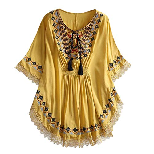 (LUNIWEI Women's T-Shirt Summer Ruffled Linen Embroidery Loose Batwing Sleeve Lace Up Pull Tee Tops Blouse Shirt Yellow)
