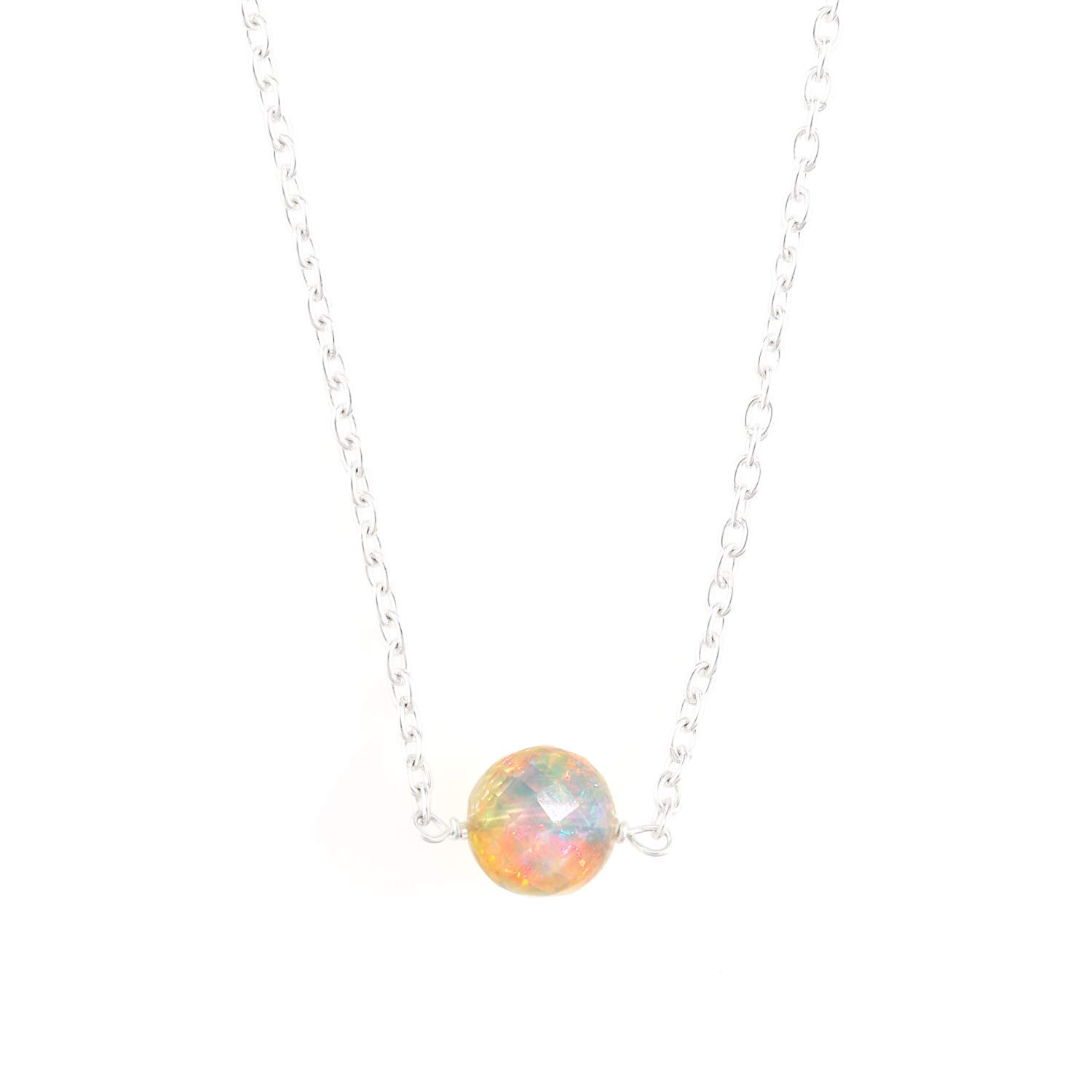 Anniversary gifts October Birthstone Dainty Crystals Necklace for Birthday Natural Opal Beaded Crystals Necklace Healing Chakra Handmade Jewelry for Women Sterling Silver Chain Necklace 18 Inch