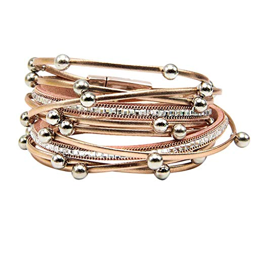 Toponly Shining wrap Clasp Bangle for Women Leather Cuff Bracelet Multi Rope Wrap Bangle with Pearl Metallic Heart Cuffs Bracelets for Women Teen Girl Gift