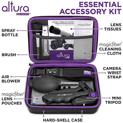 Altura Photo Essential Camera Accessories Bundle - Photography Accessories Kit for Canon Nikon Sony DSLR and Mirrorless Cameras Includes Camera Strap, Tripod, Lens Pouches and Cleaning Kit
