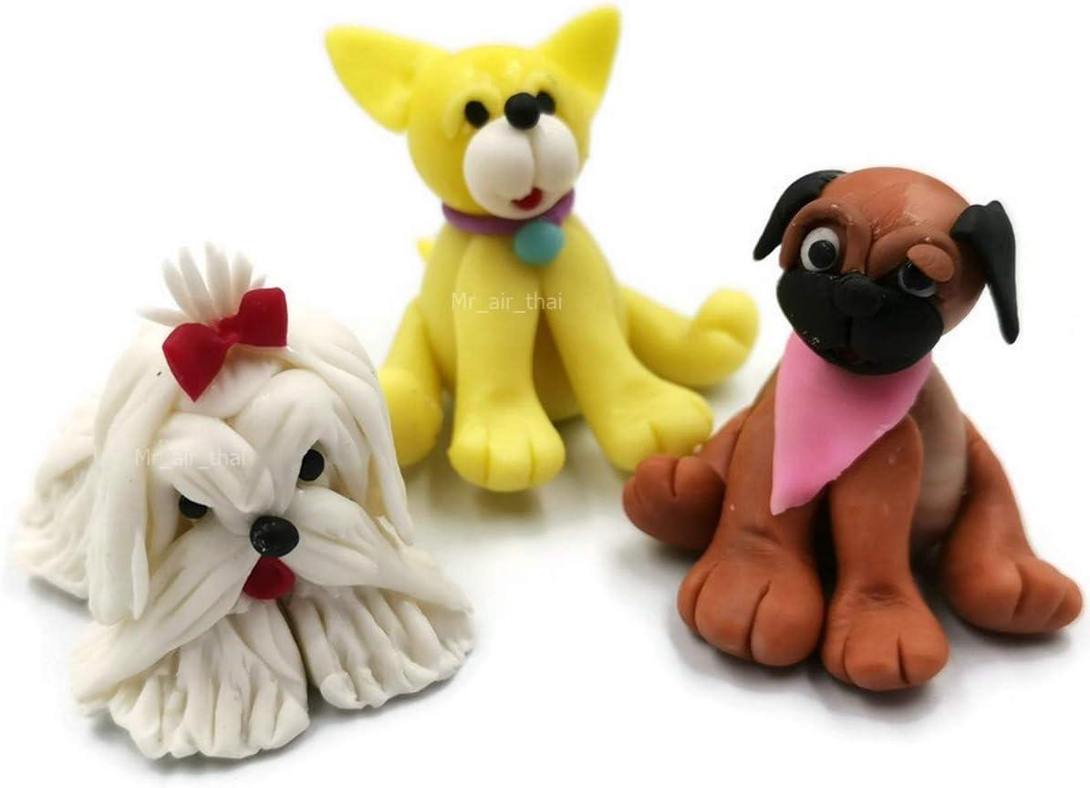 Mr_air_thai_Miniature Lot of 3 Miniature Dog Puppy Fairy Garden Supplies Animal Clay Figurine Furniture Dollhouse D#05